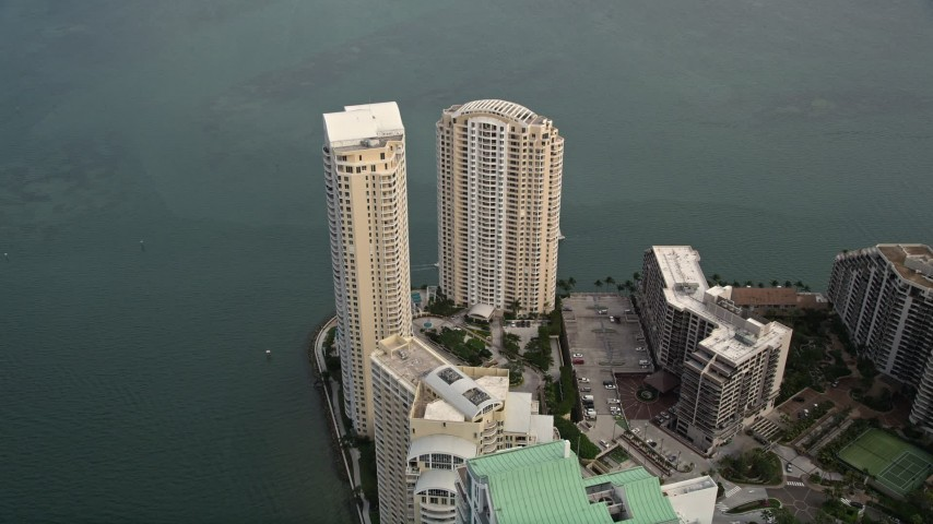 5K stock footage aerial video of waterfront skyscrapers on Brickell Key in Downtown Miami, Florida Aerial Stock Footage | AX0021_103