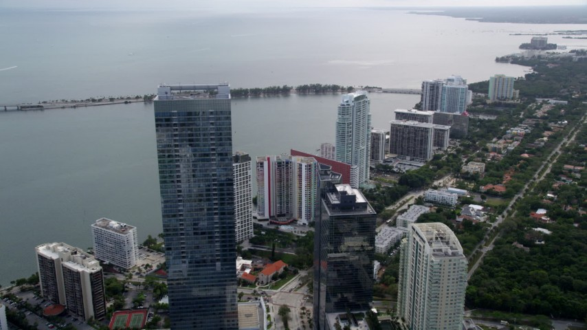 5K stock footage aerial video flyby Four Seasons Hotel to approach high-rise condos in Downtown Miami, Florida Aerial Stock Footage | AX0021_106