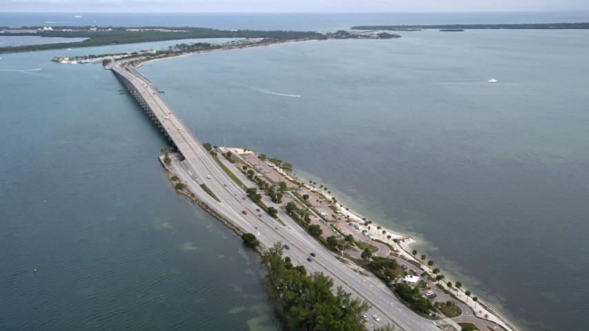 5K stock footage aerial video pan across the Rickenbacker Causeway in Miami, Florida Aerial Stock Footage   AX0021_109