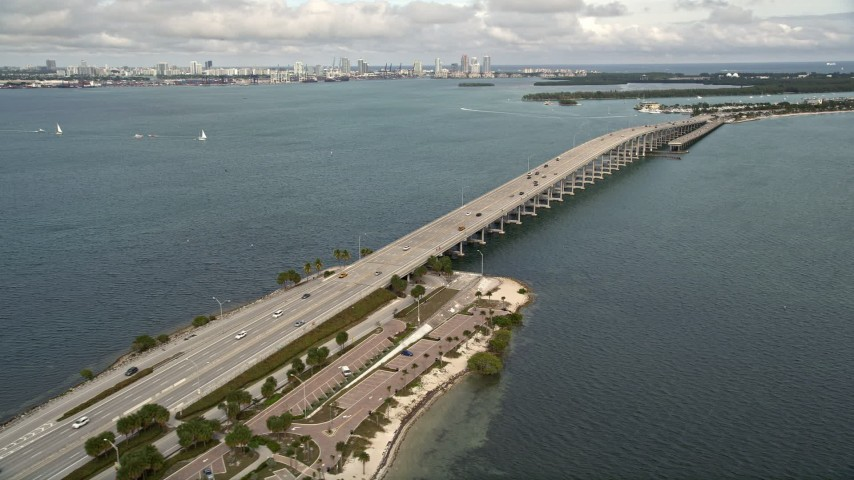 5K stock footage aerial video pan across the Rickenbacker Causeway in Miami, Florida Aerial Stock Footage   AX0021_109E
