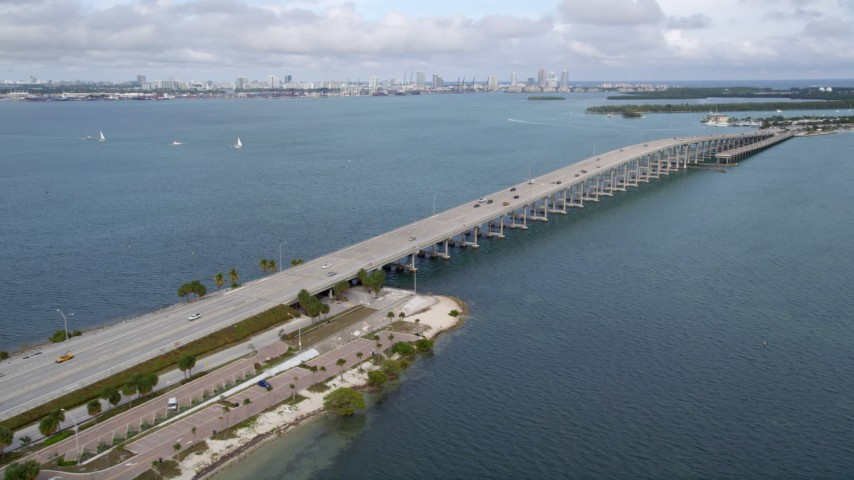 5K stock footage aerial video of bridge on the Rickenbacker Causeway over Biscayne Bay, Florida Aerial Stock Footage | AX0021_111