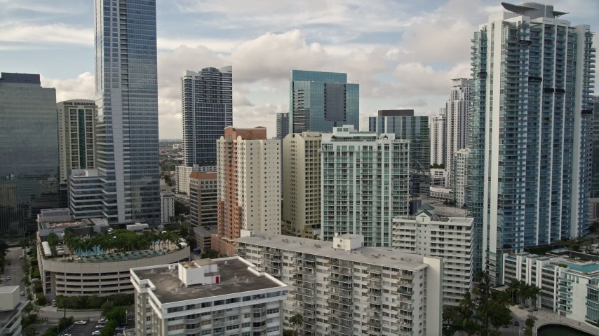5K stock footage aerial video of condominium high-rises in Downtown Miami, Florida Aerial Stock Footage | AX0021_119