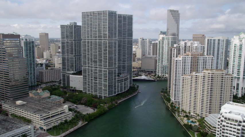 5K stock footage aerial video of waterfront skyscrapers in Downtown Miami and Brickell Key, Florida Aerial Stock Footage | AX0021_121