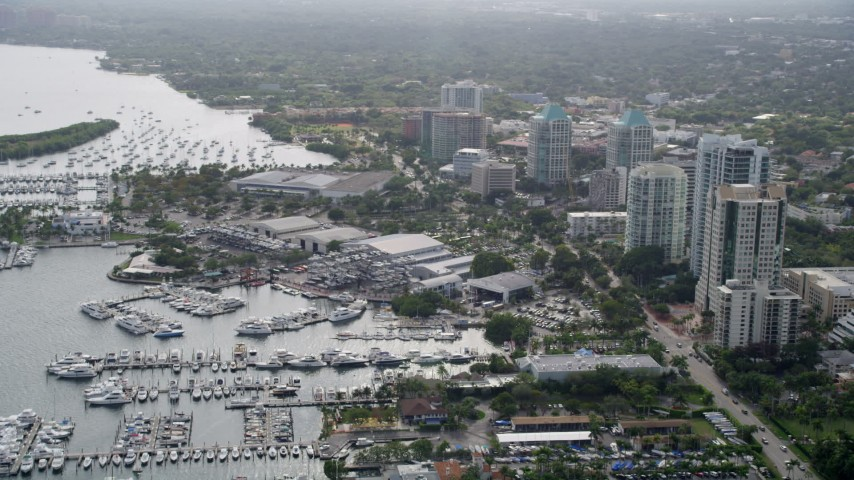 5K stock footage aerial video of Dinner Key Marina in Coconut Grove, Florida Aerial Stock Footage | AX0021_148