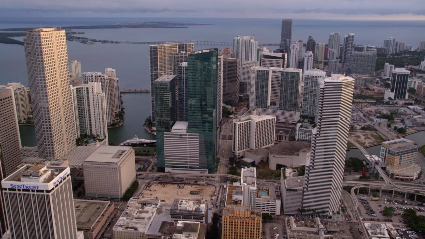 5K stock footage aerial video approach bayfront skyscrapers in Downtown Miami at sunset, Florida Aerial Stock Footage | AX0022_036