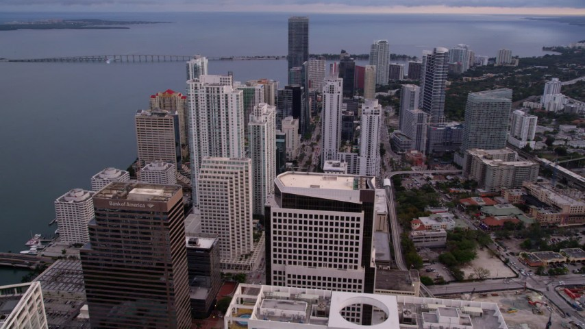 5K stock footage aerial video fly over Downtown Miami skyscrapers at sunset, Florida Aerial Stock Footage | AX0022_039