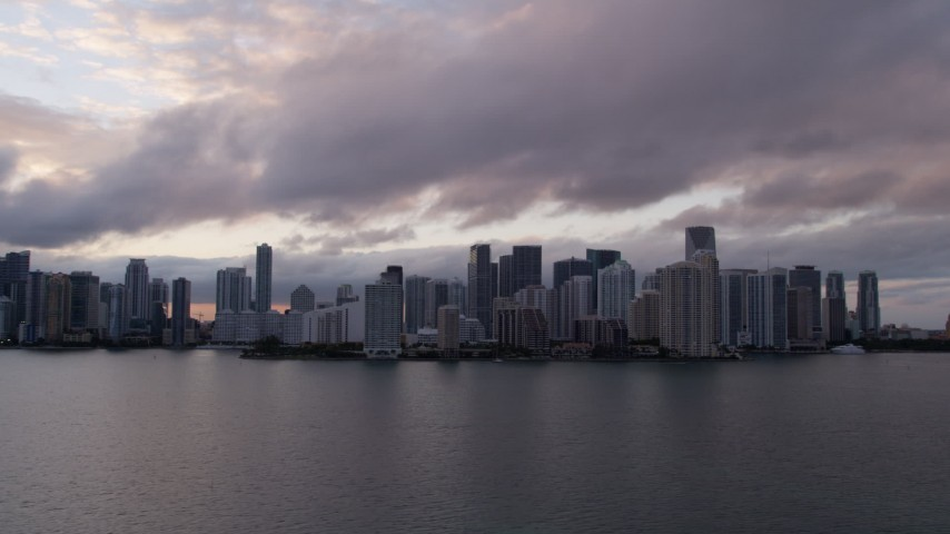 5K stock footage aerial video of Downtown Miami skyline at sunset in Florida Aerial Stock Footage | AX0022_055