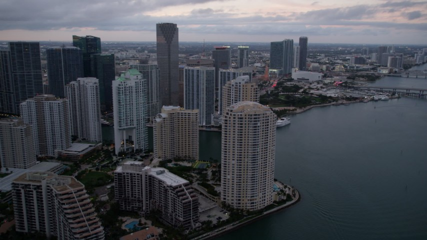 5K stock footage aerial video of Brickell Key skyscrapers at sunset in Downtown Miami, Florida Aerial Stock Footage | AX0022_081