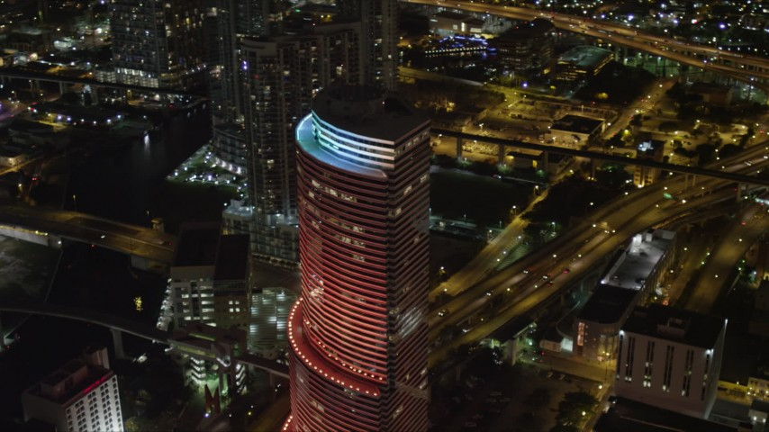5K stock footage aerial video orbit Miami Tower at night in Downtown Miami, Florida Aerial Stock Footage | AX0023_015