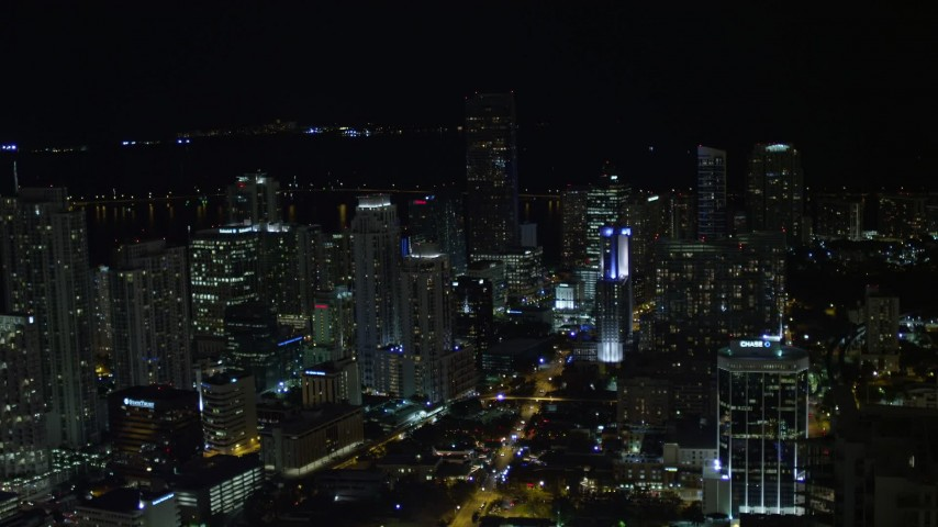5K stock footage aerial video of Downtown Miami skyscrapers at nighttime in Florida Aerial Stock Footage | AX0023_017