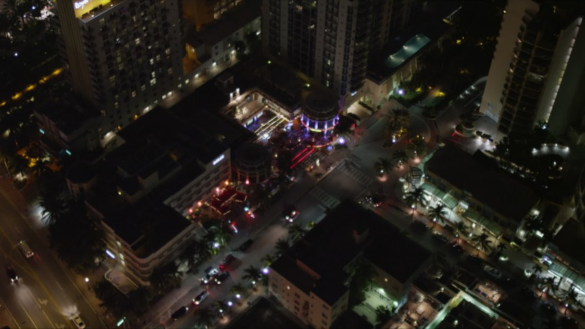 5K stock footage aerial video of Bancroft Hotel at night in South Beach, Florida Aerial Stock Footage | AX0023_118