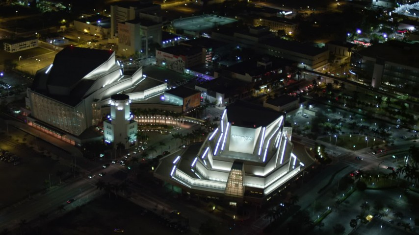 5K stock footage aerial video approach Adrienne Arsht Center for the Performing Arts at night in Downtown Miami, Florida Aerial Stock Footage | AX0023_138E