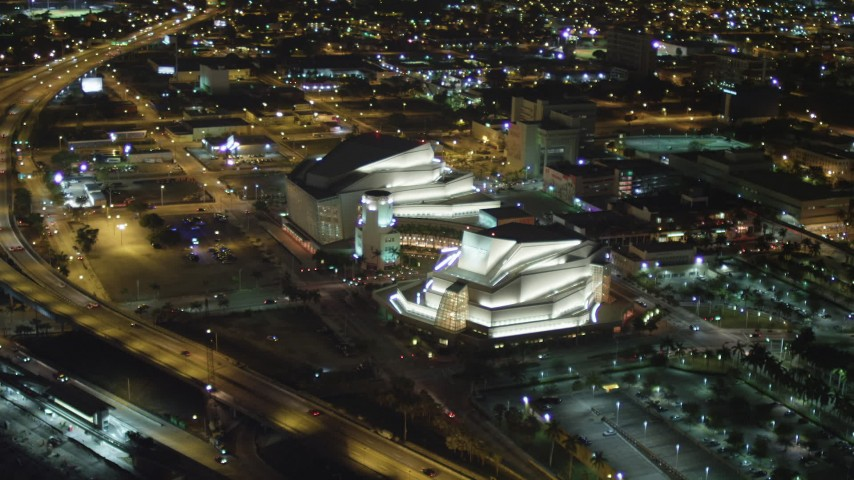 5K stock footage aerial video flyby Adrienne Arsht Center for the Performing Arts at night in Downtown Miami, Florida Aerial Stock Footage | AX0023_139