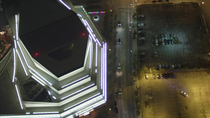 5K stock footage aerial video bird's eye view of the Adrienne Arsht Center for the Performing Arts in Downtown Miami at night, Florida Aerial Stock Footage | AX0023_142