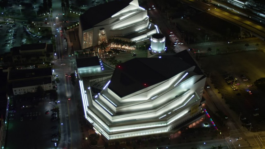 5K stock footage aerial video bird's eye view of the Adrienne Arsht Center for the Performing Arts in Downtown Miami at night, Florida Aerial Stock Footage   AX0023_142E