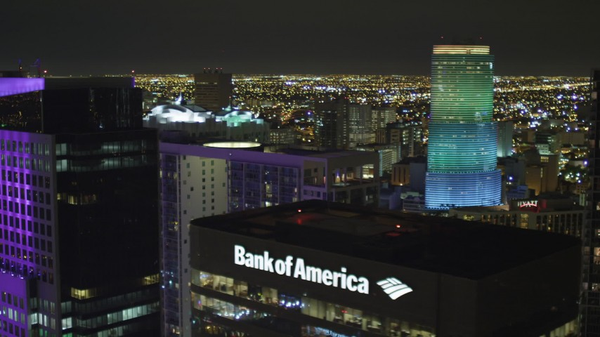 5K stock footage aerial video flyby Brickell World Plaza and 500 Brickell at night in Downtown Miami, Florida Aerial Stock Footage | AX0023_149