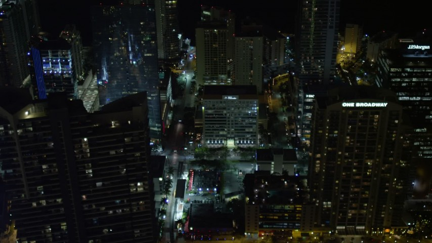 5K stock footage aerial video of skyscrapers in Downtown Miami, Florida at nighttime Aerial Stock Footage | AX0023_160