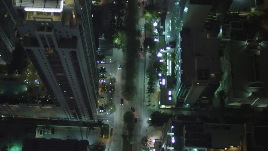 5K stock footage aerial video of bird's eye of Brickell Avenue at night in Downtown Miami, Florida Aerial Stock Footage | AX0023_163
