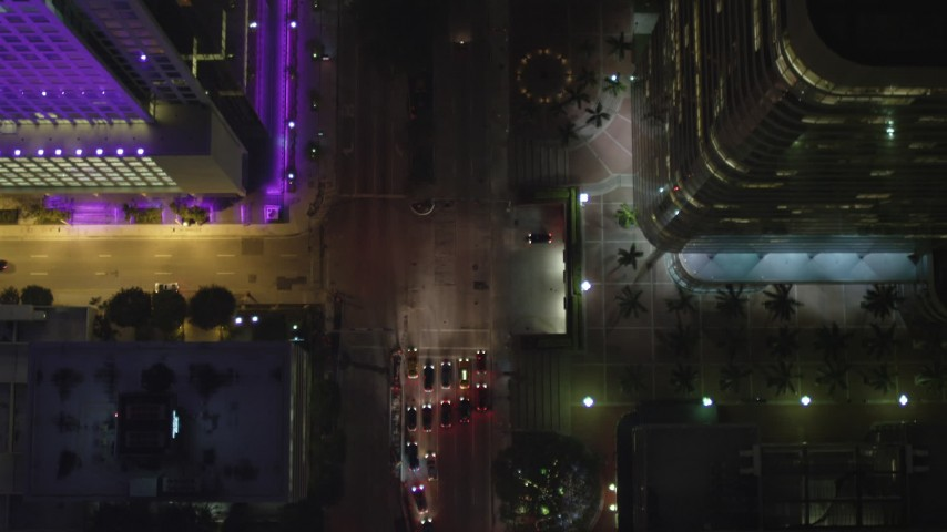 5K stock footage aerial video of bird's eye of Brickell Avenue at night through Downtown Miami, Florida Aerial Stock Footage | AX0023_165