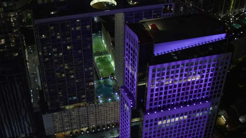 5K stock footage aerial video of 500 Brickell and Brickell World Plaza high-rises at night in Downtown Miami, Florida Aerial Stock Footage | AX0023_167