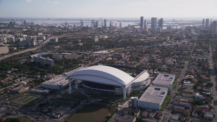 5K stock footage aerial video of approaching Marlins Park in Miami, Florida Aerial Stock Footage | AX0024_034