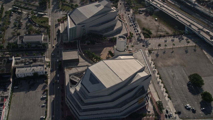 5K stock footage aerial video of Adrienne Arsht Center for the Performing Arts, Downtown Miami, Florida Aerial Stock Footage | AX0024_038