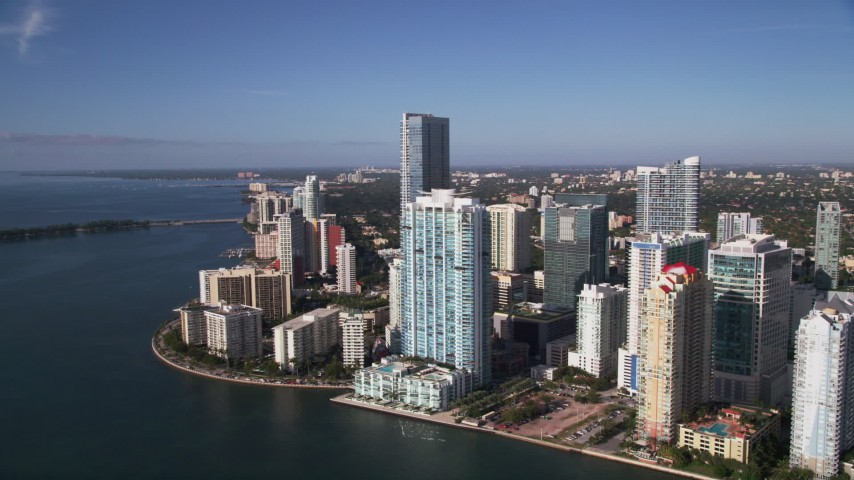 5K stock footage aerial video of approaching Jade at Brickell Bay and Four Seasons, Downtown Miami, Florida Aerial Stock Footage | AX0024_045