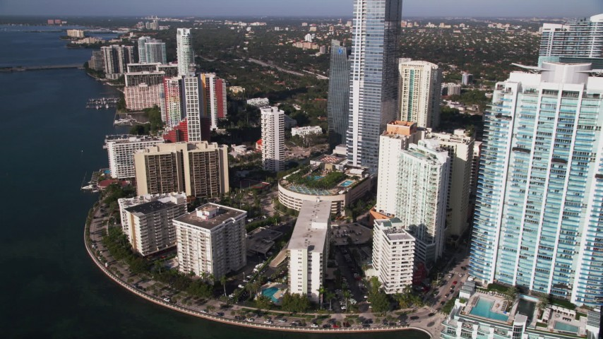 5K stock footage aerial video of Jade at Brickell Bay and apartments by Four Seasons, Downtown Miami, Florida Aerial Stock Footage | AX0024_046