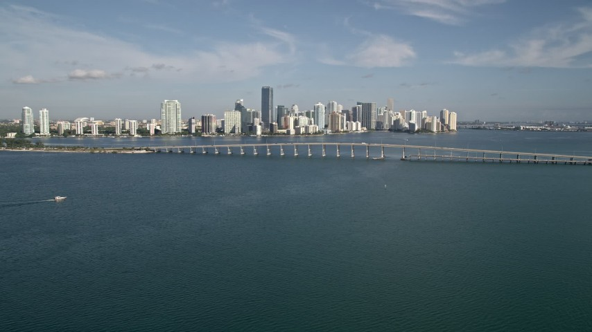 5K stock footage aerial video of the Rickenbacker Causeway, Downtown Miami, and Biscayne Bay, Florida Aerial Stock Footage | AX0024_051