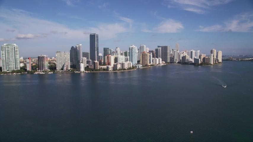 5K stock footage aerial video of flying over Biscayne Bay, approaching Downtown Miami, Florida Aerial Stock Footage | AX0024_053
