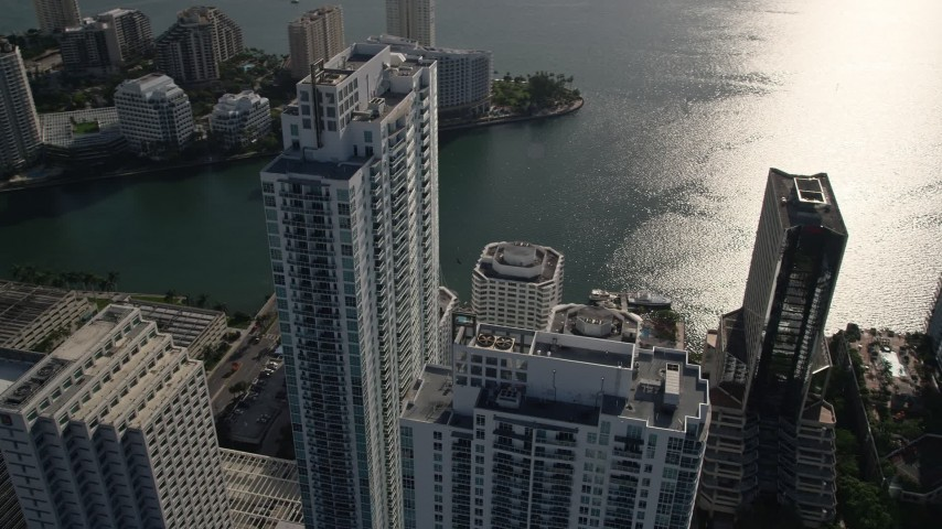 5K stock footage aerial video of orbiting the Plaza on Brickell Tower 1, Downtown Miami, Florida Aerial Stock Footage | AX0024_060