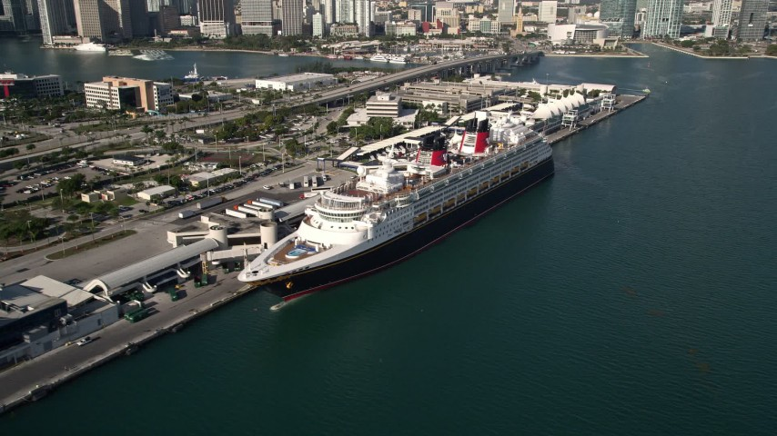 Disney Cruise Ship Docked At Port Of Miami Miami Florida Aerial - Cruise ship port in miami