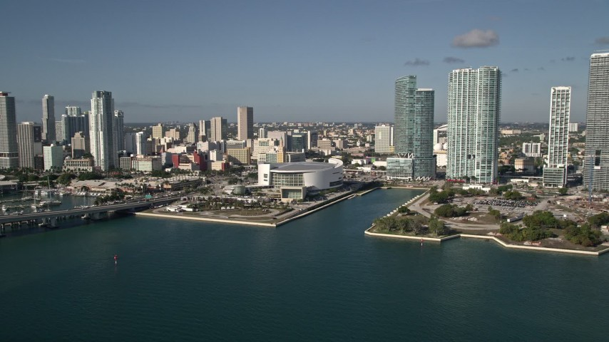5K stock footage aerial video of approaching American Airlines Arena, Downtown Miami, Florida Aerial Stock Footage | AX0024_065