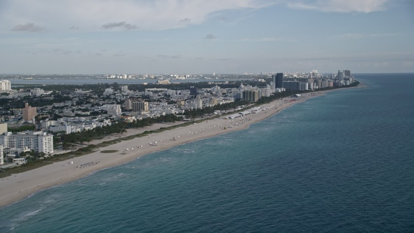 5K stock footage aerial video of panning across from South Beach to Miami Beach, Miami Beach, Florida Aerial Stock Footage | AX0024_077