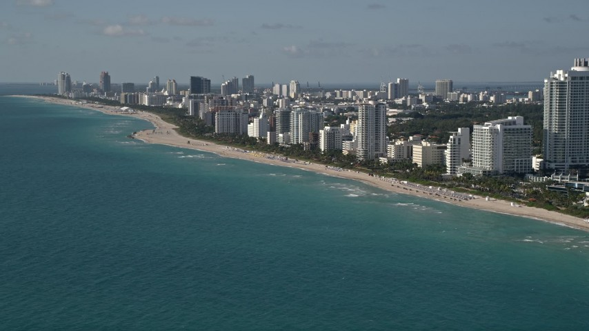 5K stock footage aerial video of flying by hotels, apartments, South Beach,  Miami Beach, Florida Aerial Stock Footage | AX0024_088