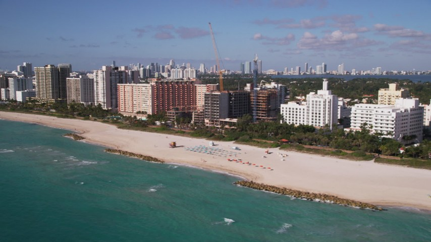 5K stock footage aerial video of flying by hotels and condos, Miami Beach, Florida Aerial Stock Footage | AX0024_091