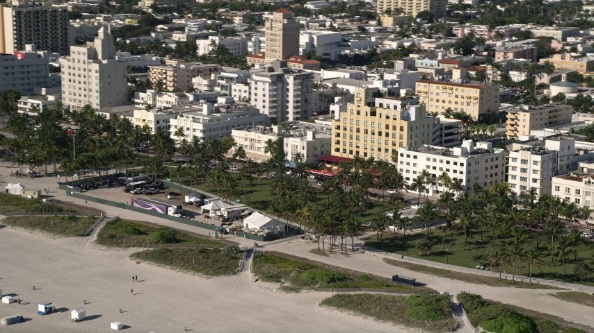 5K stock footage aerial video of flying by maintenance base camp, South Beach, Miami Beach, Florida Aerial Stock Footage | AX0024_094