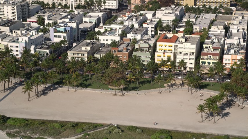 5K stock footage aerial video of flying by palm trees at Lummus Park, South Beach, Miami Beach, Florida Aerial Stock Footage | AX0024_095