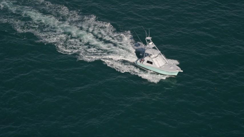 5K stock footage aerial video of orbiting a fishing boat, Atlantic Ocean, Miami, Florida Aerial Stock Footage | AX0024_105