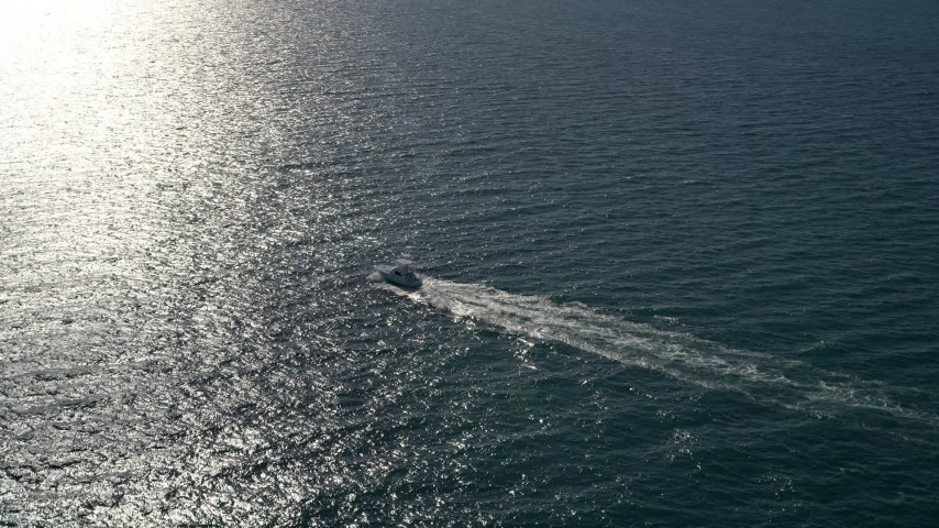 5K stock footage aerial video of orbiting a fishing boat, Atlantic Ocean, Miami, Florida Aerial Stock Footage | AX0024_106