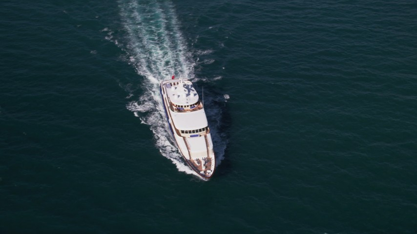 5K stock footage aerial video of orbiting a yacht, Atlantic Ocean, Miami, Florida Aerial Stock Footage | AX0024_108