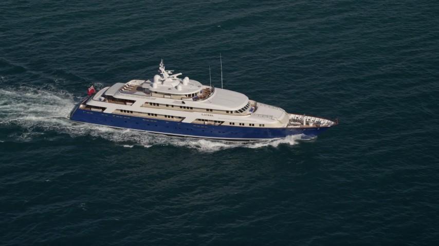 5K stock footage aerial video of orbiting a yacht, Atlantic Ocean, Miami, Florida Aerial Stock Footage | AX0024_109E
