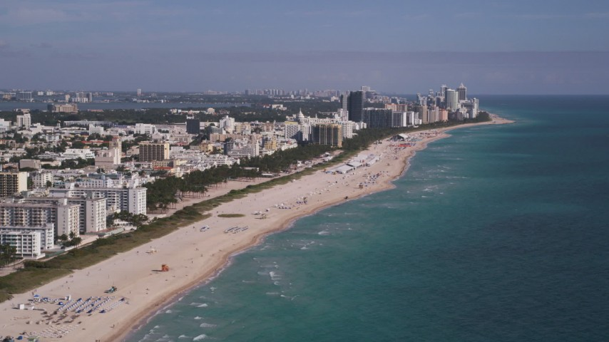 5K stock footage aerial video of flying by South Beach coastline, Miami Beach, Florida Aerial Stock Footage | AX0024_113