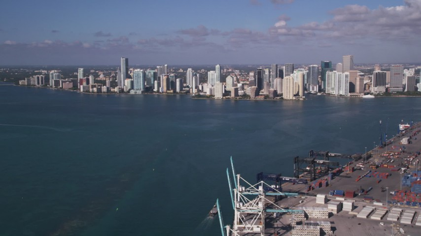 5K stock footage aerial video of approaching Downtown Miami from Port of Miami, Florida Aerial Stock Footage | AX0024_116