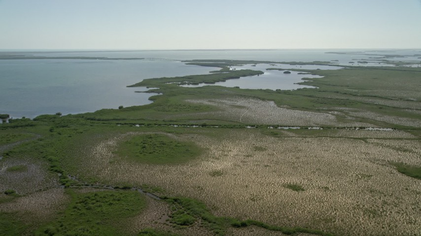 5K stock footage aerial video of approaching shore of Little Card Sound, Homestead, Florida Aerial Stock Footage | AX0025_029
