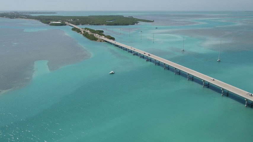 5K aerial video fly by Overseas Highway, approach Lower Matecumbe Key, Islamorada, Florida Aerial Stock Footage | AX0025_121