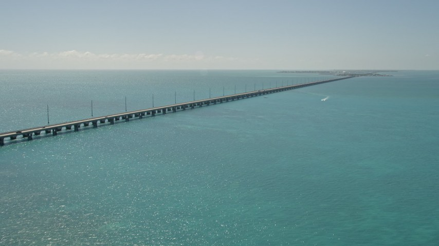 5K stock footage aerial video of flying by Overseas Highway, approaching Conch Key, Marathon, Florida Aerial Stock Footage | AX0025_143