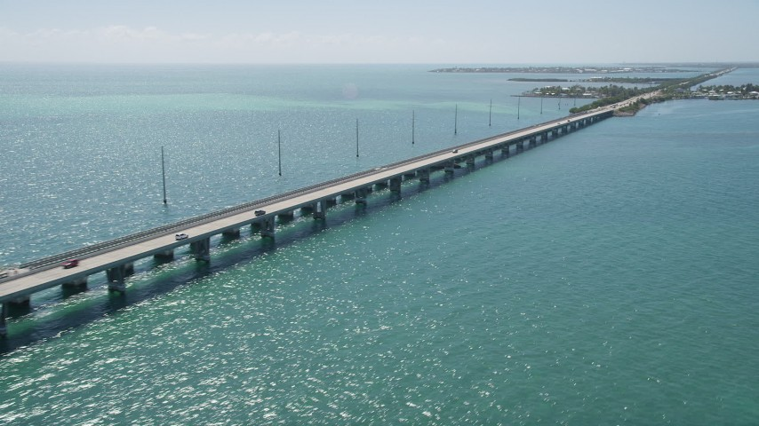 5K stock footage aerial video of the Overseas Highway to Conch Key, Marathon, Florida Aerial Stock Footage | AX0025_146