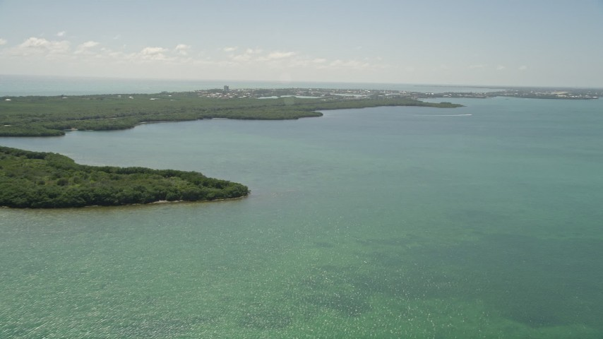 5K stock footage aerial video of flying by coastal mangroves, Fat Deer Key, Marathon, Florida Aerial Stock Footage | AX0025_161