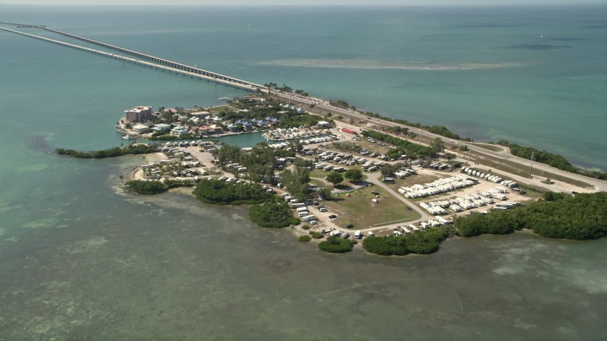 5K stock footage aerial video of approaching Hawk's Nest Marathon, RV Park, Knight's Key, Marathon, Florida Aerial Stock Footage | AX0026_013